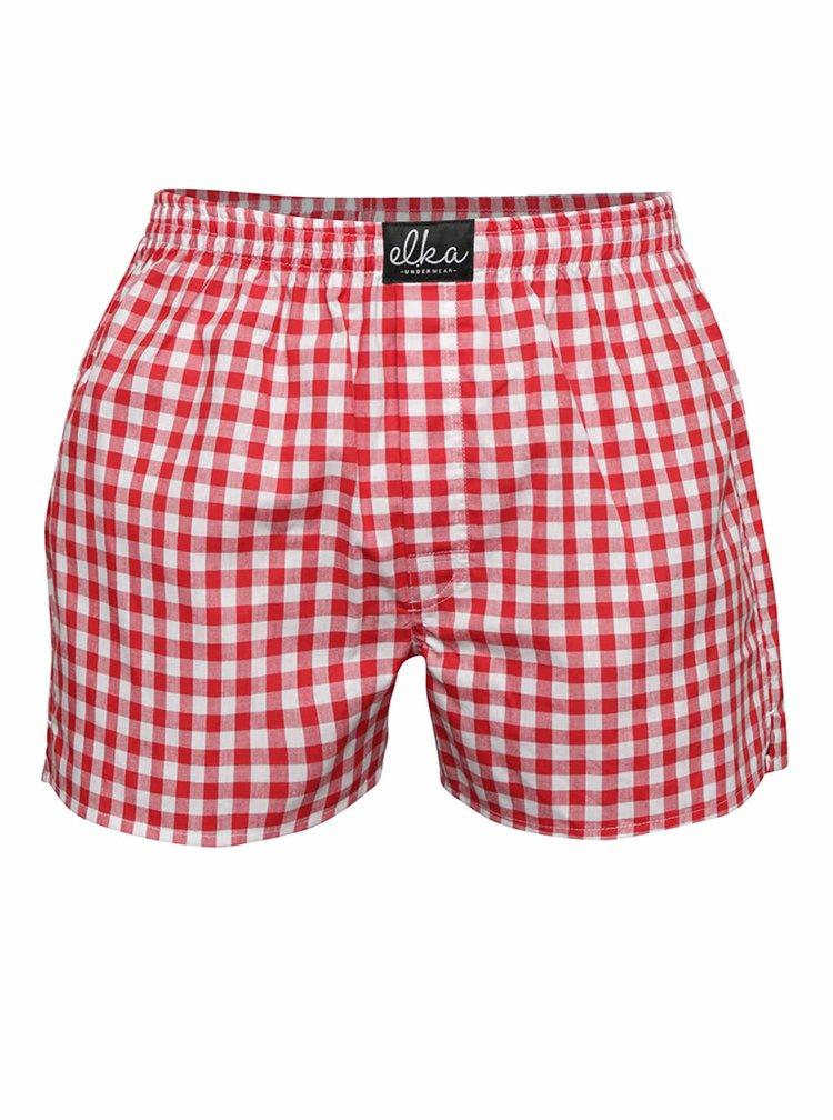 Bílo-červené pánské kostkované trenýrky El.Ka Underwear