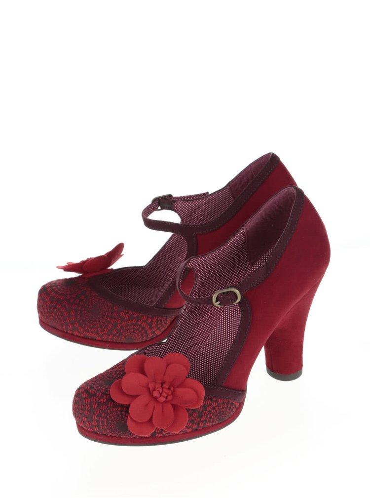 Červené lodičky s kvetinou Ruby Shoo Tanya