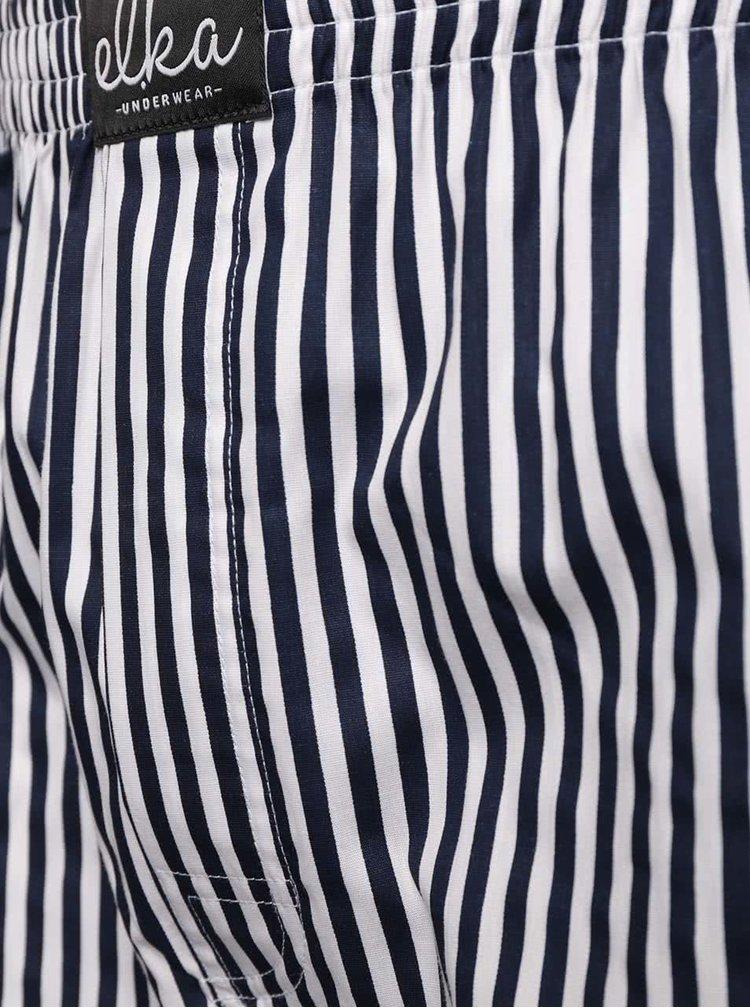 Bílo-modré pánské pruhované trenýrky El.Ka Underwear