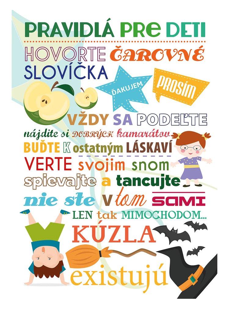 Bílý plakát  HEZKÝ SVĚT Pravidlá pre deti