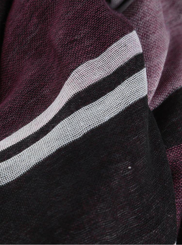 Šedo-vínový šátek s pruhy Dorothy Perkins