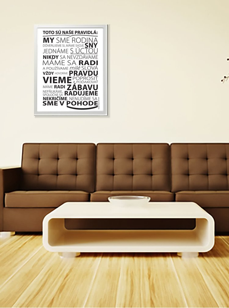 Bílý plakát  HEZKÝ SVĚT Pravidla rodiny