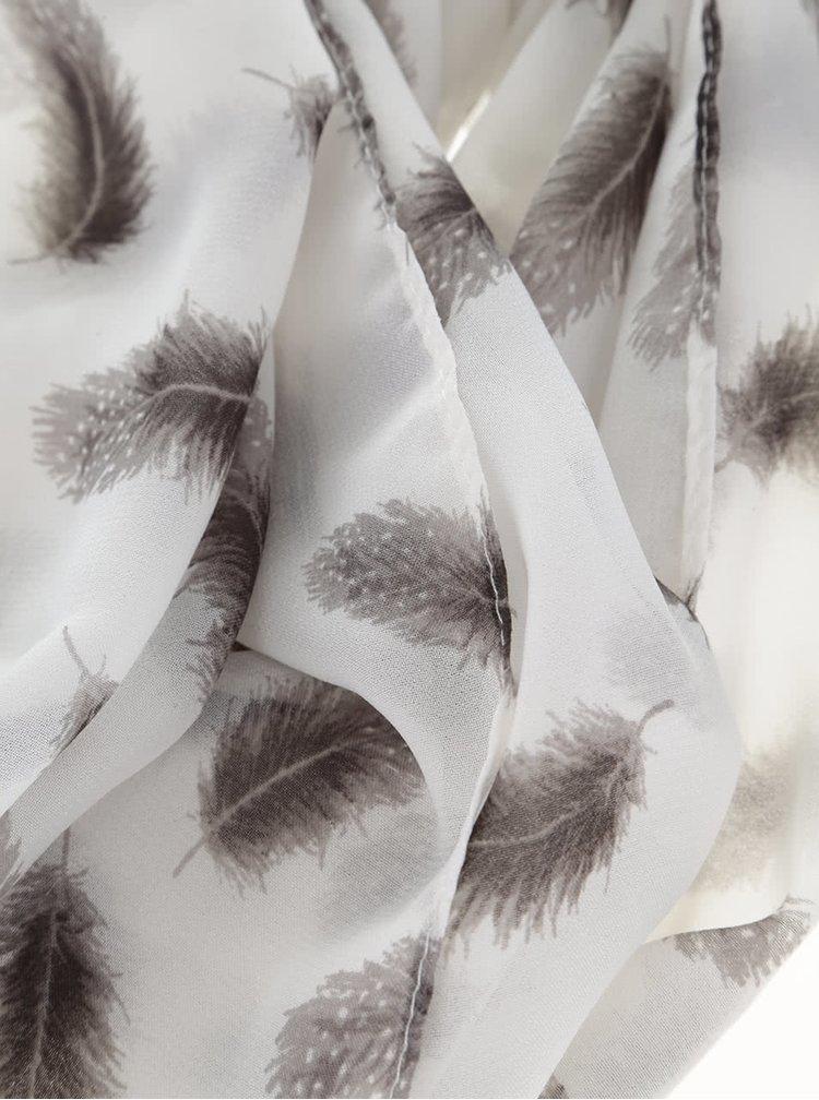 Krémový šátek s šedými pírky Dorothy Perkins