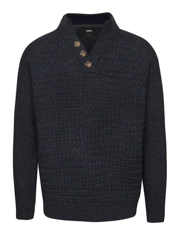 Tmavomodrý sveter s gombíkmi na krku Burton Menswear London