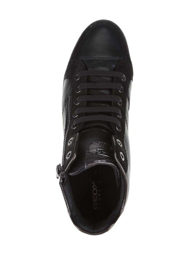Černé kožené dámské kotníkové tenisky Geox Myria