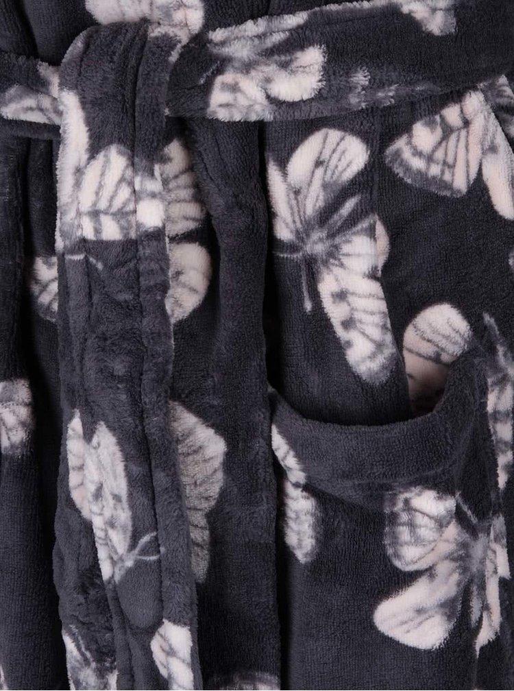 Tmavě šedý župan s motýly Dorothy Perkins