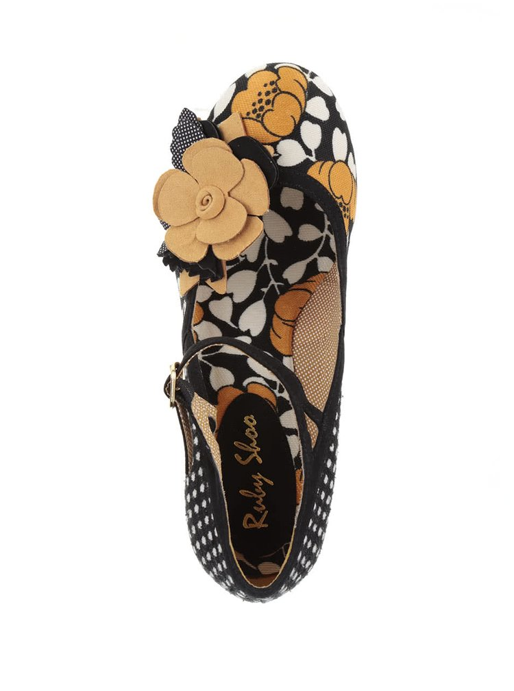 Žluto-černé lodičky s květinou Ruby Shoo Dee