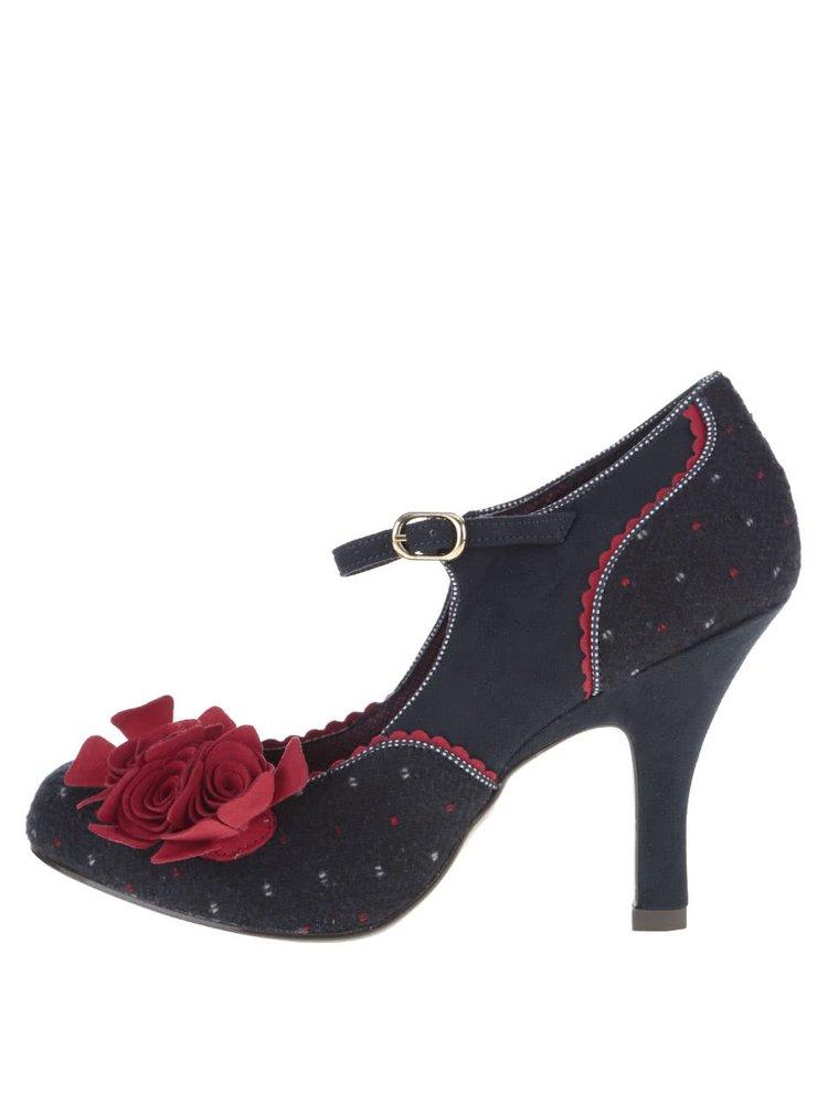 Tmavomodré lodičky s vínovou kvetinou Ruby Shoo Ashley