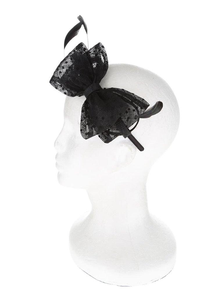 Černá čelenka s mašlí a pírky Dorothy Perkins