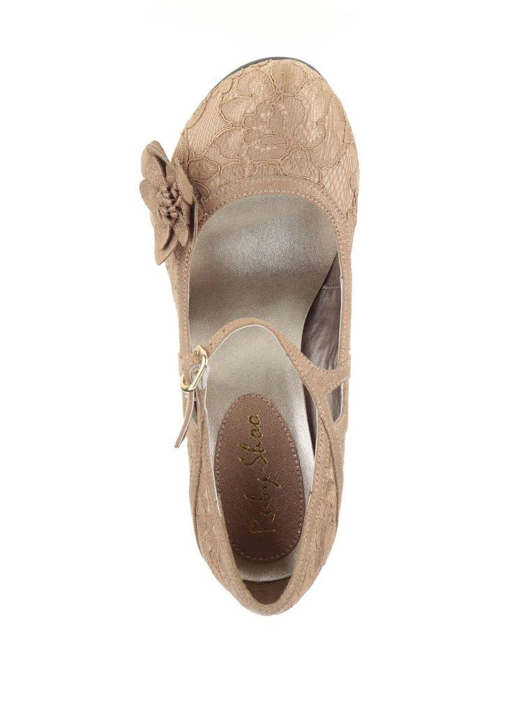Pantofi aurii Ruby Shoo Elsy cu dantela