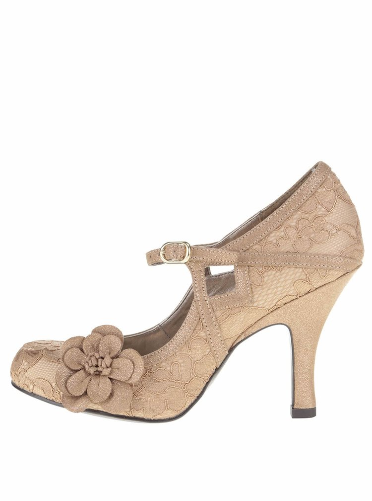 Pantofi aurii Ruby Shoo Elsy cu dantelă