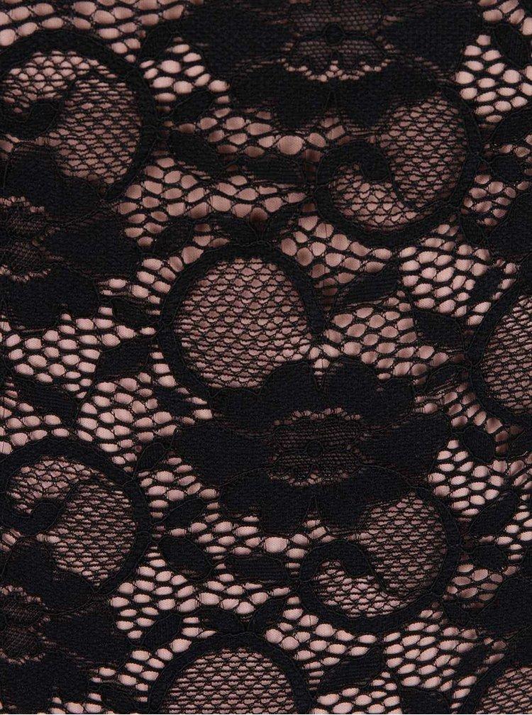Béžovo-čierne čipkované puzdrové šaty Dorothy Perkins