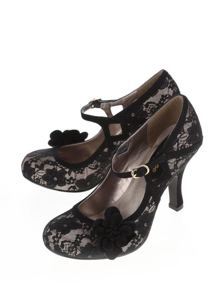 Pantofi negri Ruby Shoo Elsy cu dantelă