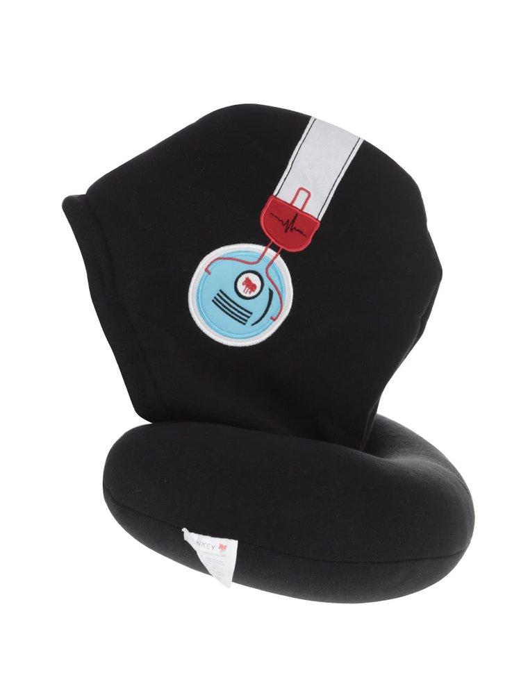 Černý cestovní polštářek s kapucí Donkey Silent Music