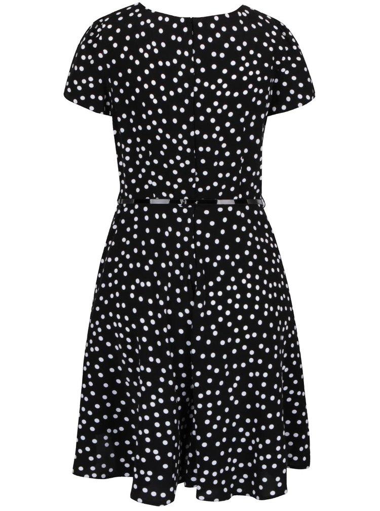 Bílo-černé puntíkované šaty s úzkým páskem Dorothy Perkins