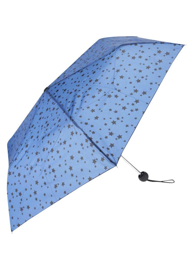 Modrý skládací deštník s černými hvězdami Dorothy Perkins