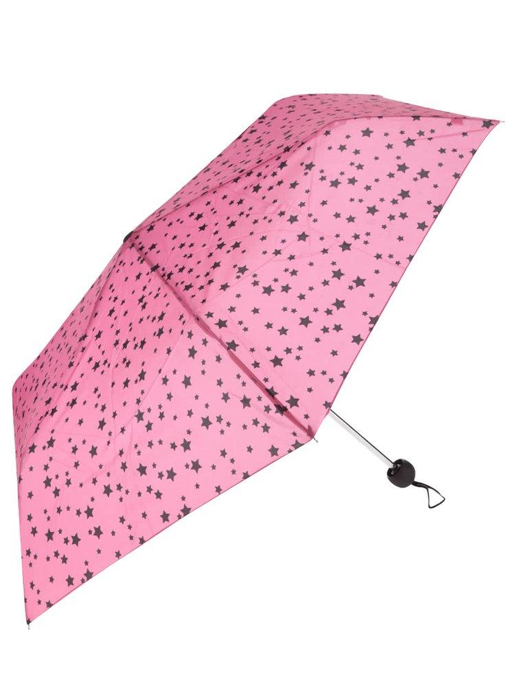 Růžový skládací deštník s černými hvězdami Dorothy Perkins