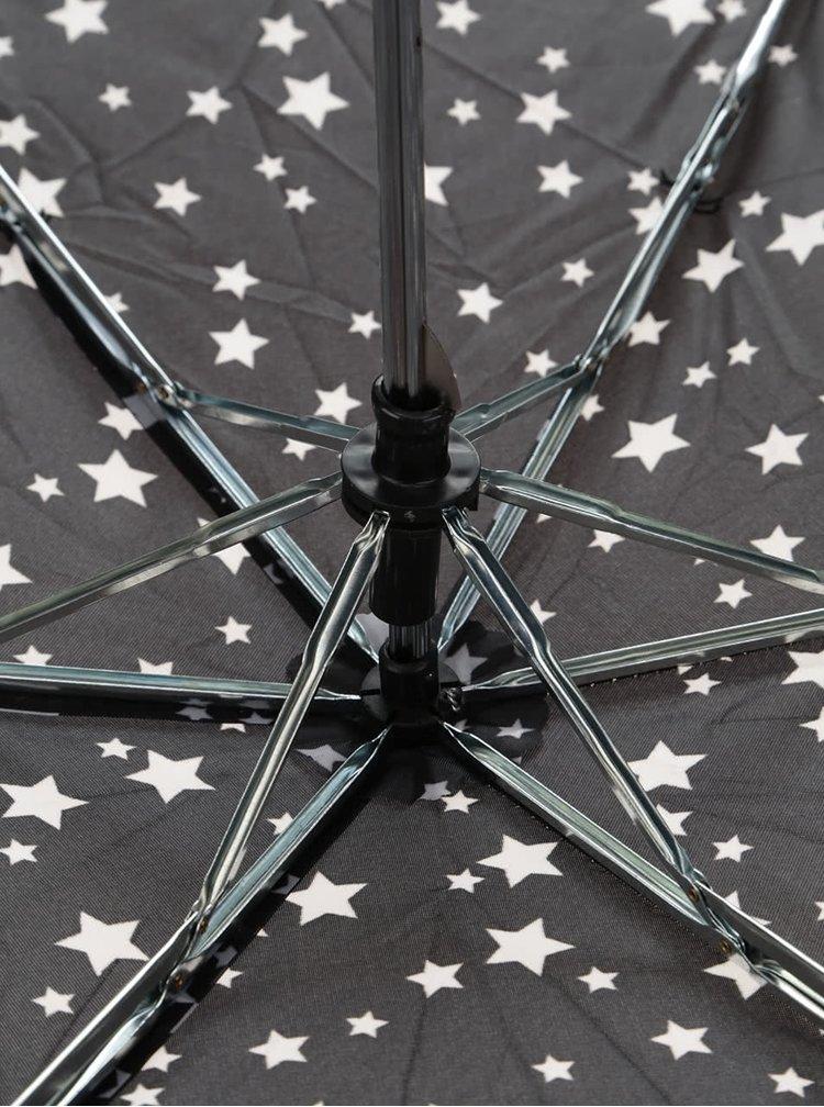 Černý skládací deštník s bílými hvězdami Dorothy Perkins