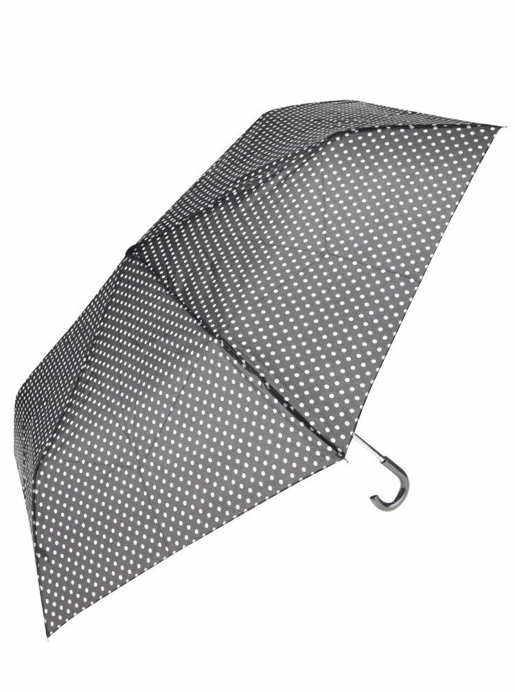 Čierny skladací dáždnik s bielymi bodkami Dorothy Perkins