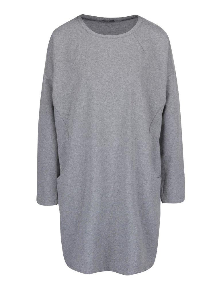 Sivé voľné šaty s vreckami a dlhými rukávmi ZOOT