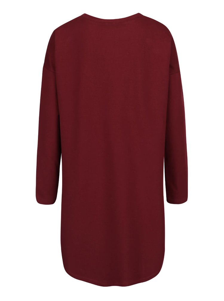 Vínové voľné šaty s vreckami a dlhými rukávmi ZOOT