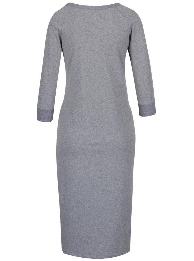 Sivé elastické šaty s 3/4 rukávmi a rozparkom ZOOT