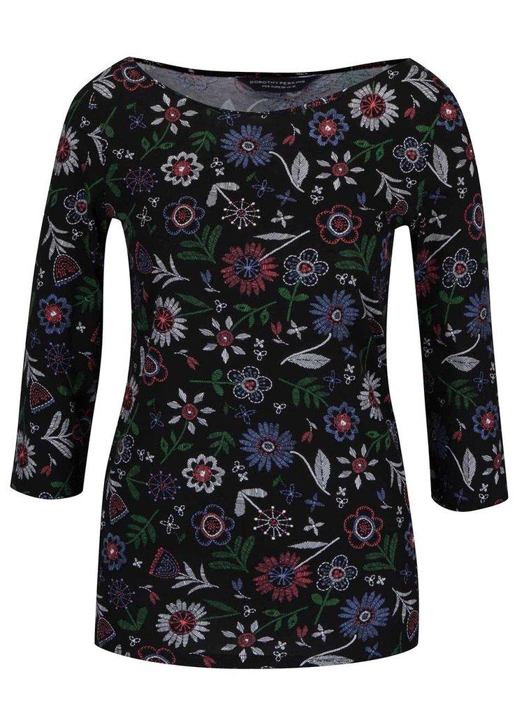 Černé tričko s barevnými květinami a 3/4 rukávy Dorothy Perkins