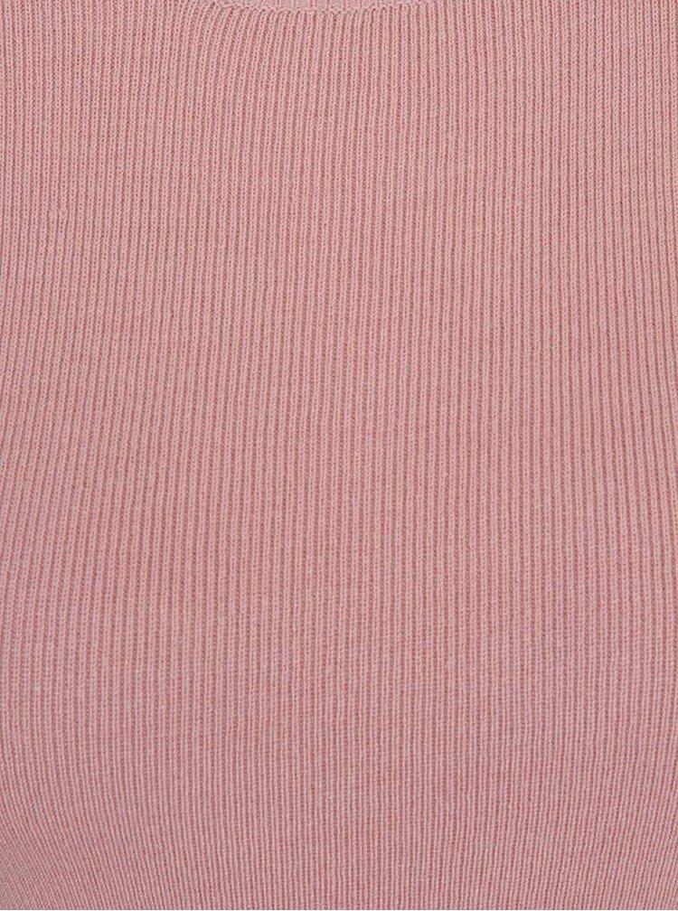 Světle růžové svetrové tričko se zipem ve zlaté barvě na zádech Dorothy Perkins