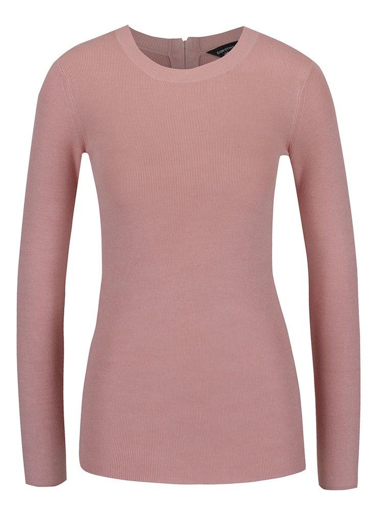 Svetloružové svetrové tričko so zipsom v zlatej farbe na chrbte Dorothy Perkins