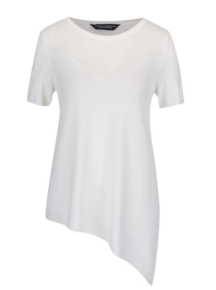 Krémové asymetrické svetrové tričko s perforovaným dekoltem Dorothy Perkins