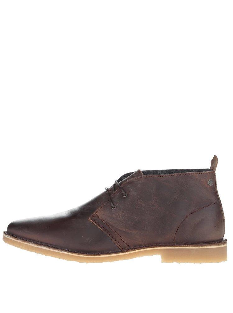 Hnědé kožené kotníkové boty Jack & Jones Gobi