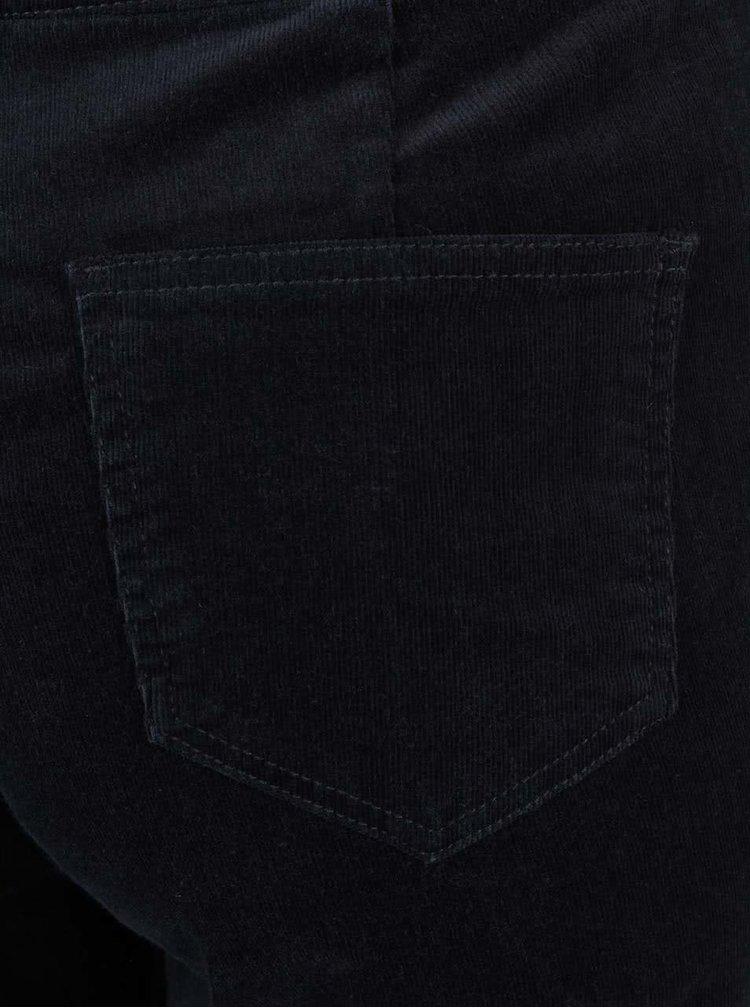 Tmavomodré 3/4 menčestrové nohavice na traky Dorothy Perkins