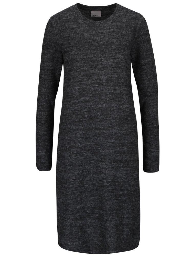 Tmavě šedé žíhané šaty s dlouhým rukávem a rozparky VERO MODA Fallon