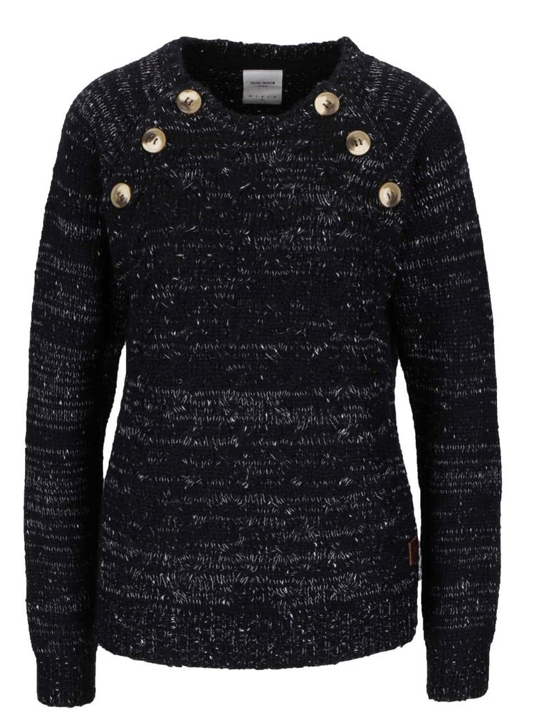 Bílo-černý žíhaný svetr s ozdobnými knoflíky VERO MODA Emma