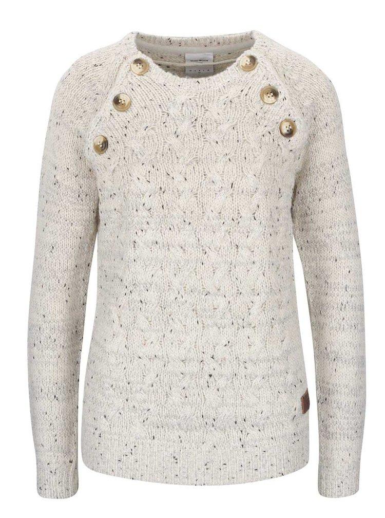 Krémový žíhaný svetr s ozdobnými knoflíky VERO MODA Emma