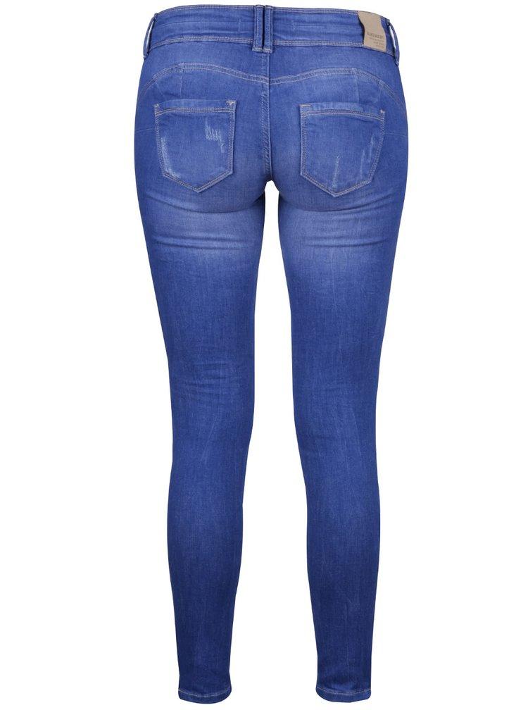 Modré skinny džíny s nízkým pasem a potrhaným efektem TALLY WEiJL