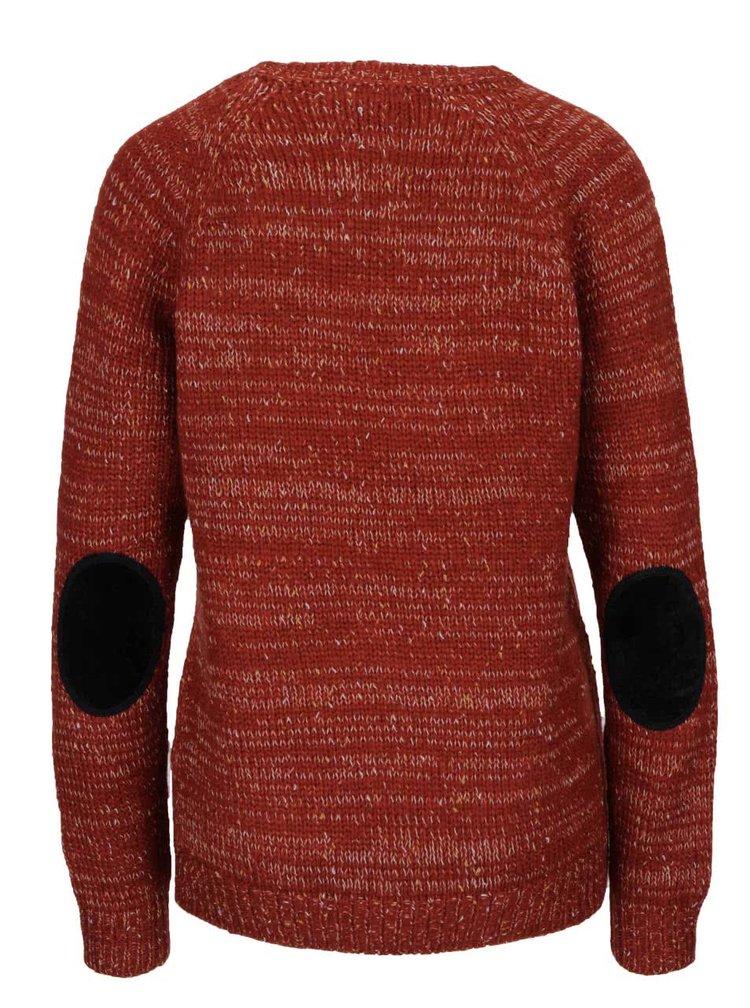 Cihlový žíhaný svetr s ozdobnými knoflíky VERO MODA Emma