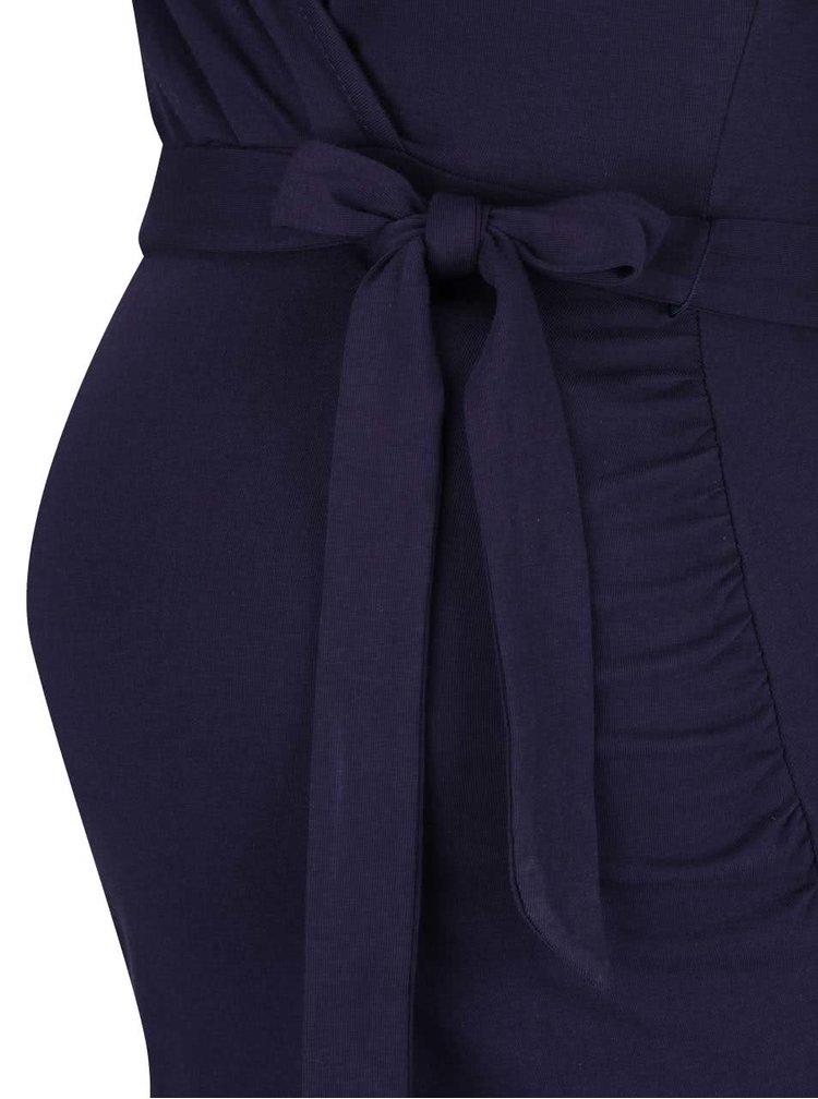 Modré těhotenské šaty s překládaným výstřihem Dorothy Perkins Maternity