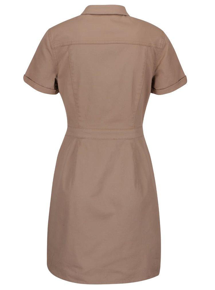 Hnedé šaty so zapínaním a golierikom Dorothy Perkins Petite
