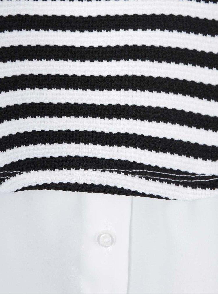 Bluză crem cu negru Dorothy Perkins Curve în dungi cu aspect 2în1