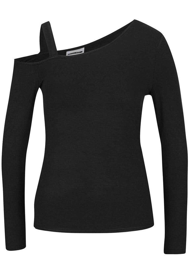 Černé asymetrické tričko s odhaleným ramenem Noisy May Fame