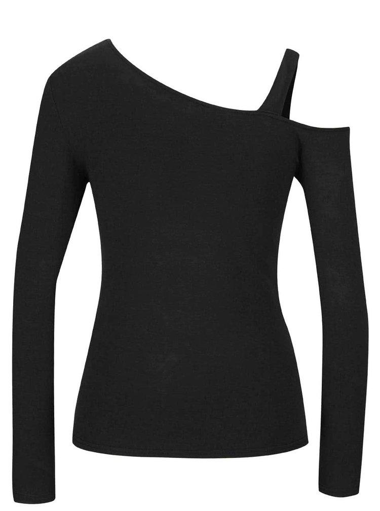 Čierne asymetrické tričko s odhaleným ramenom Noisy May Fame
