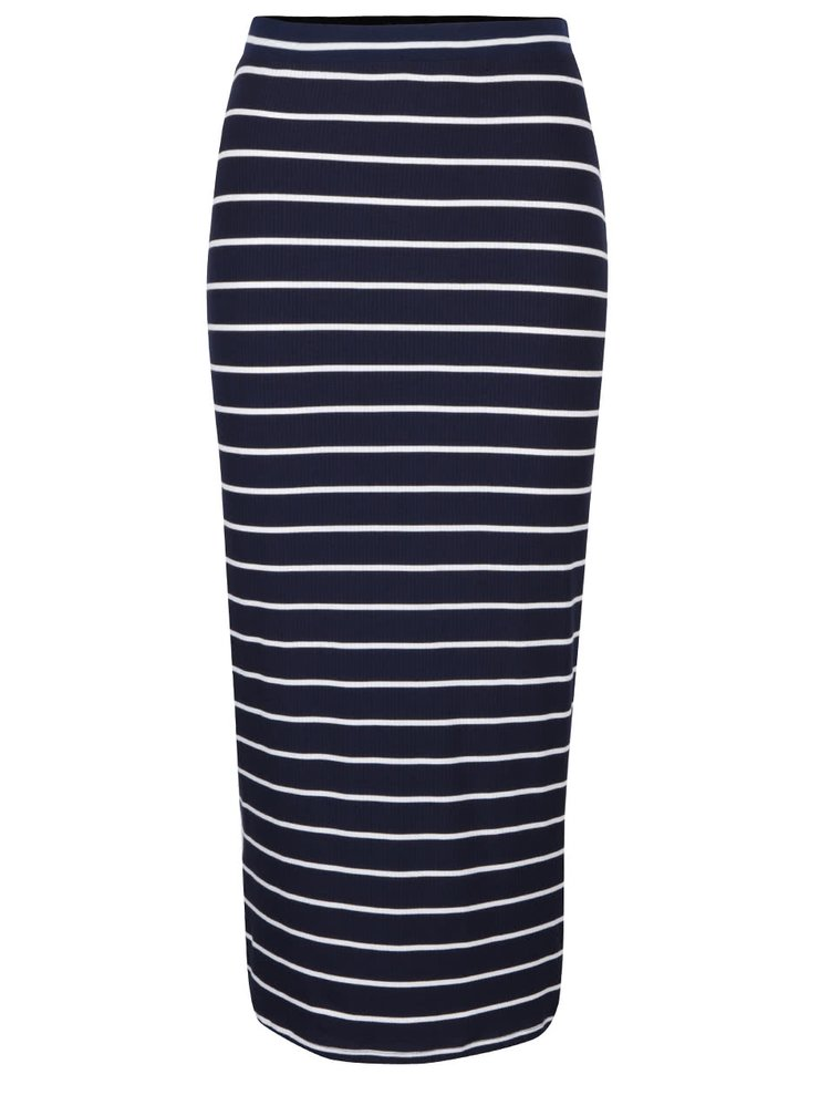 Tmavomodrá dlhšia sukňa s bielymi pruhmi Dorothy Perkins