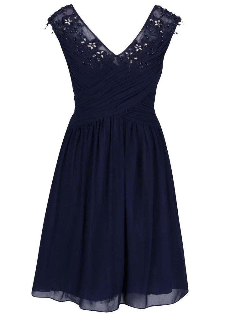 Tmavomodré šaty s vyšitými kvetmi a kamienkami Dorothy Perkins