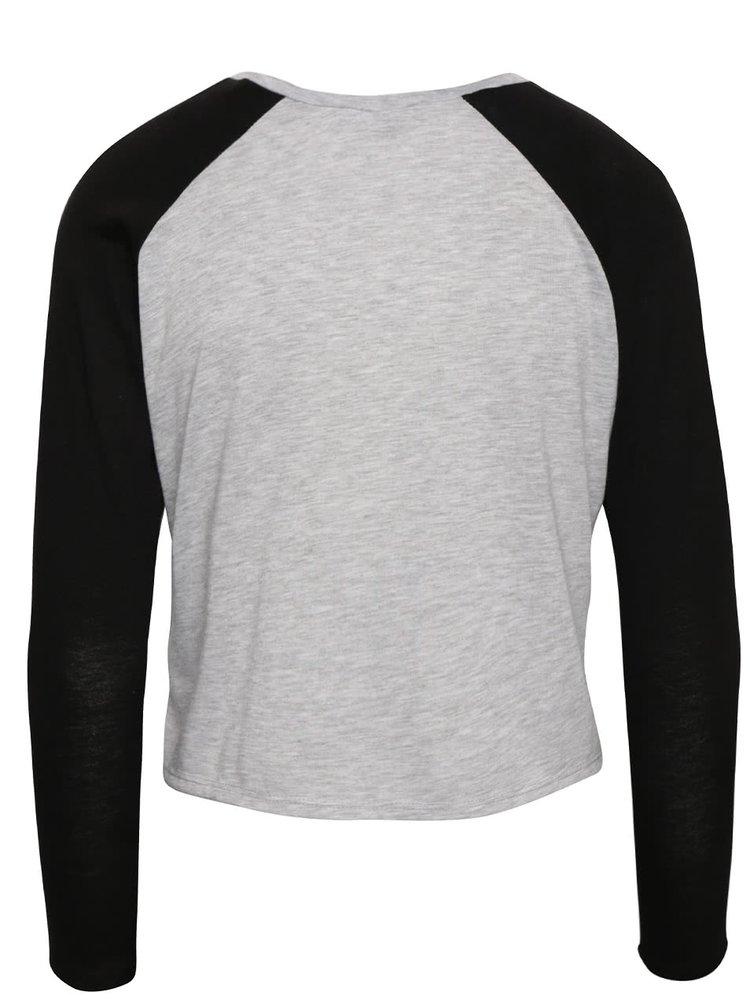 Čierno-sivé kratšie voľnejšie tričko s potlačou TALLY WEiJL