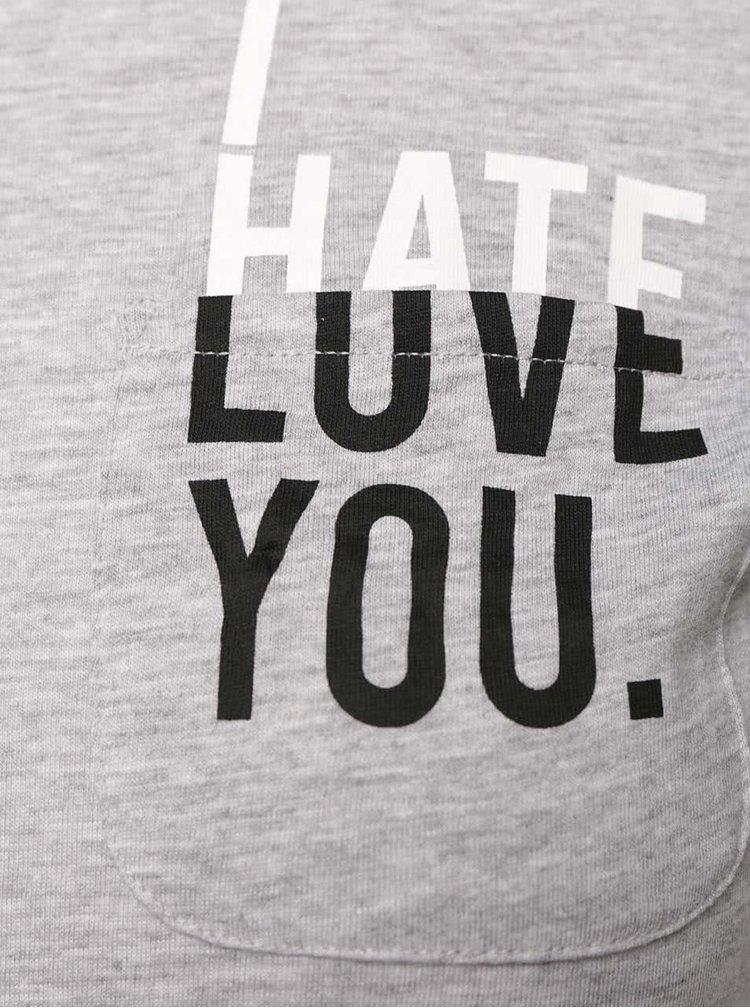 Sivé tričko s potlačou a vreckom TALLY WEiJL