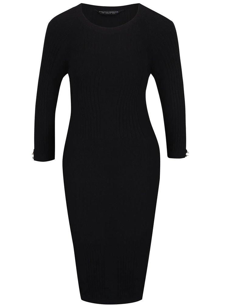 Čierne rebrované svetrové šaty s dlhým rukávom Dorothy Perkins