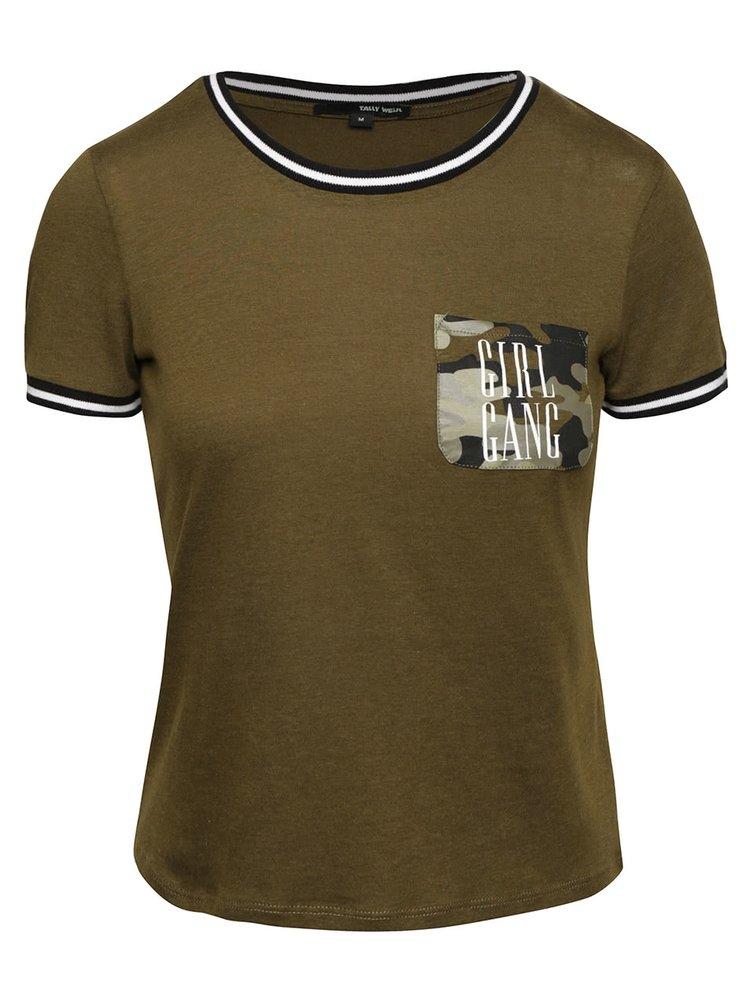 Kaki tričko s potlačou a vreckom TALLY WEiJL