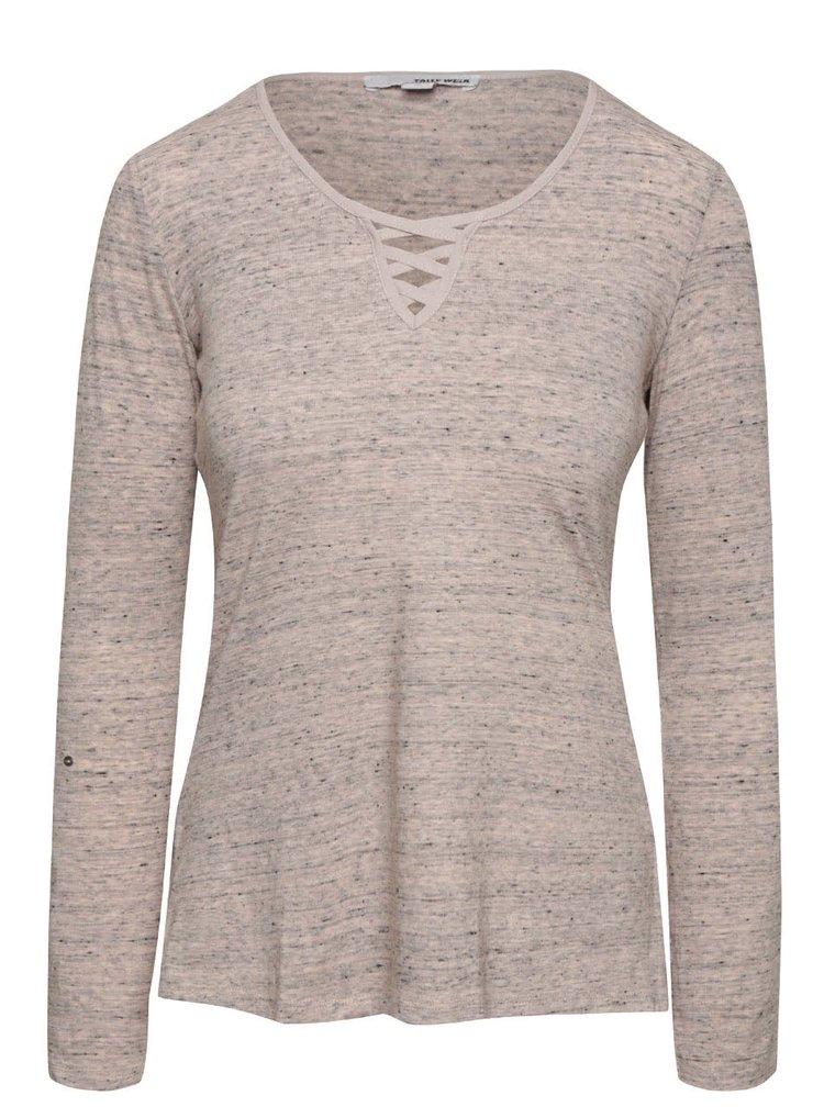 Sivoružové melírované tričko s okrúhlym výstrihom TALLY WEiJL