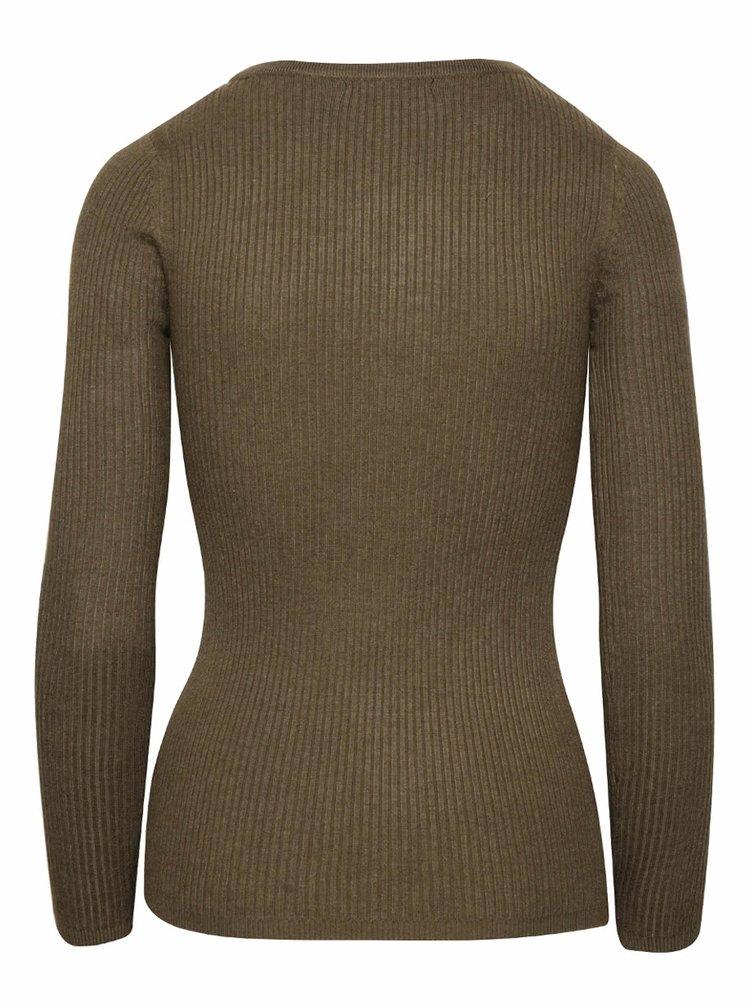 Kaki sveter so šnurovaním a dlhým rukávom TALLY WEiJL